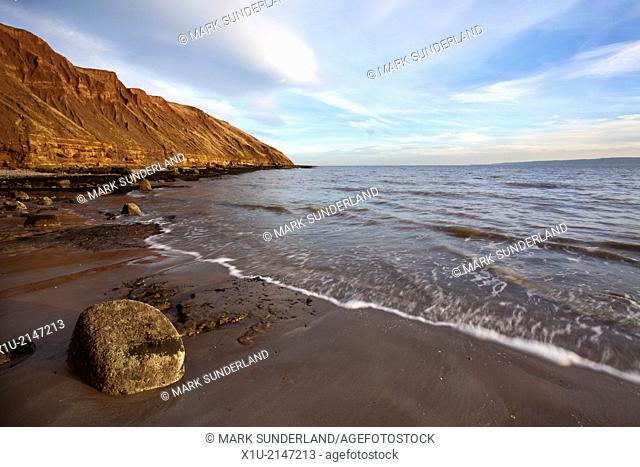 Rock on the Beach and Filey Brigg Filey North Yorkshire England