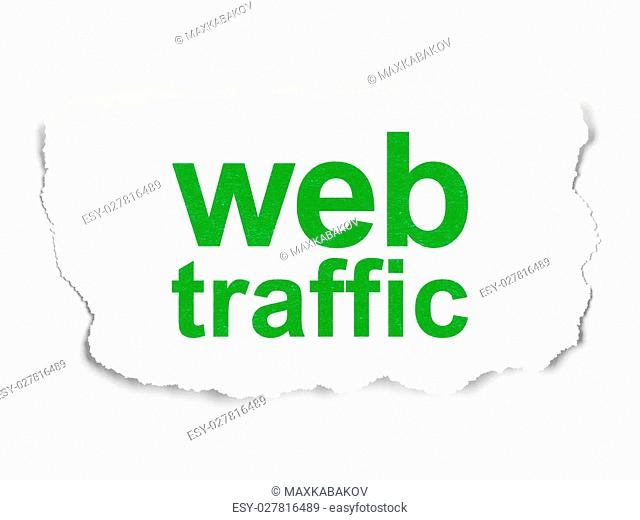 Web design concept: torn paper with words Web Traffic on Paper background, 3d render
