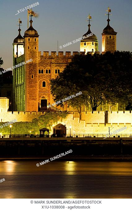 The White Tower at The Tower of London and The River Thames at Dusk London England