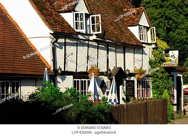 England, Buckinghamshire, Turville, English pub at Turville. The name Turville is Anglo Saxon meaning 'dry field'