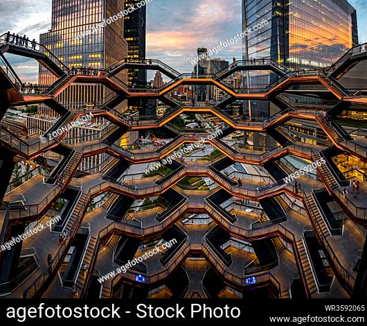 New York City - USA - Jul 2 2019: Modern architecture building Vessel spiral staircase is the centerpiece of the Hudson Yards in New York City