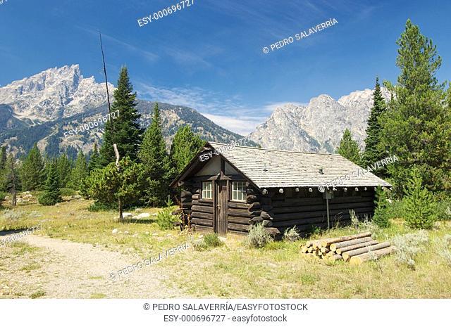 wood hut in Grand Teton National Park, Wyoming, USA