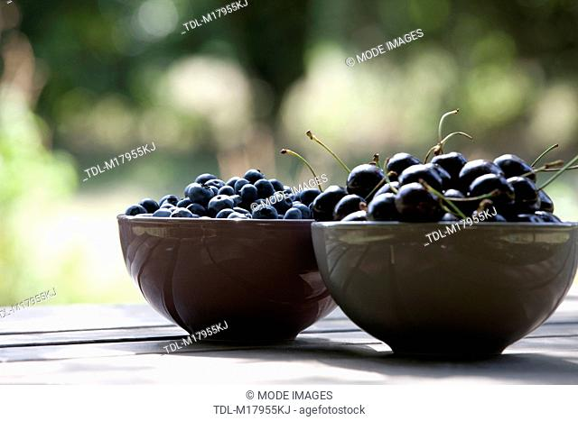 Black cherries and blueberries in ceramic bowls