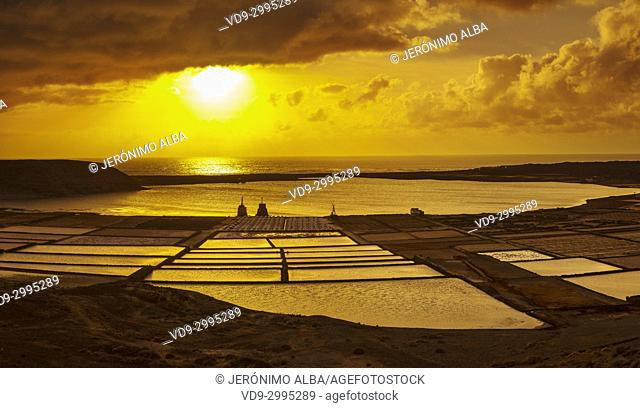 Saltworks. Sunset in Salinas de Janubio. Lanzarote Island. Canary Islands Spain. Europe