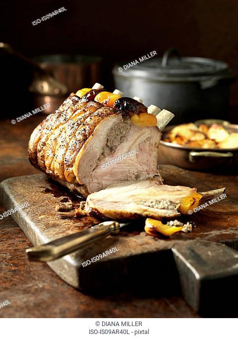 Carved pork rib with rack of pork