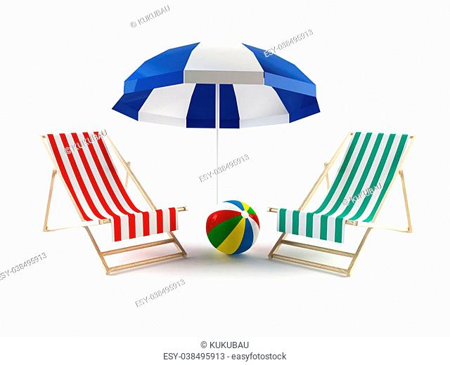 3D rendering of a couple of beach chairs under an umbrella
