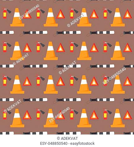 Auto transport motorist seamless pattern and equipment symbols service car driver tools high detailed vector illustration