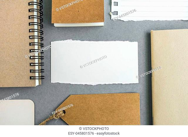 Collection of various paper, cardboard, tag, card and book with soft shadows