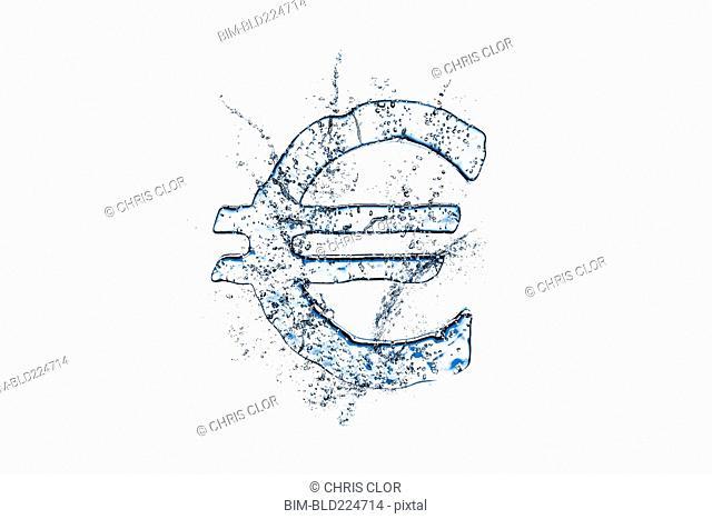 Water droplets splashing from melting ice euro symbol