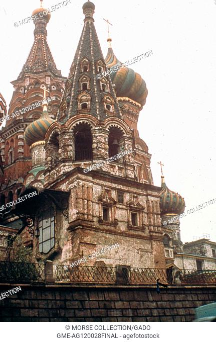 Detail view facing north of several of the intricate domes and towers of Saint Basil's Cathedral, in Red Square, Moscow, Soviet Russia (USSR), November, 1973
