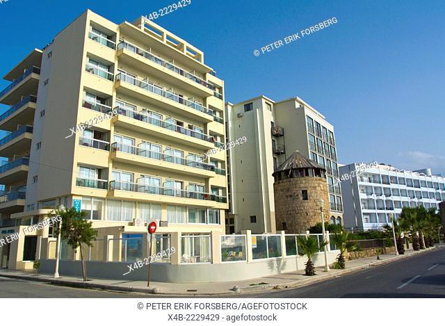 Hotels by Windy Beach, Rhodes town, Rhodes island, Dodecanese islands, Greece, Europe