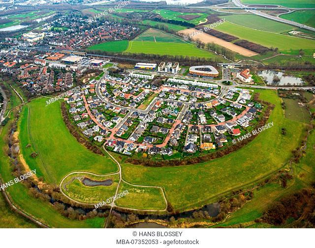 Angerbogen I Huckingen, settlement in arch shape, close to nature, new development area Angerbogen near S-Bahnhof Kesselberg, Duisburg, Ruhr area