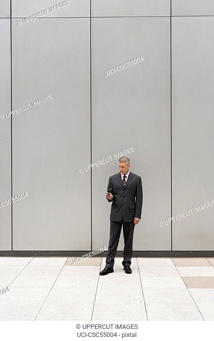 Businessman looking at cell phone
