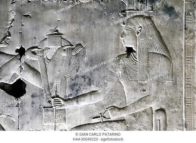 Abydos, Egypt, the mortuary temple of pharaoh Seti I, Menmaatra, (XIX° dyn. 1321-1186 B.C.) - The goddess Mut