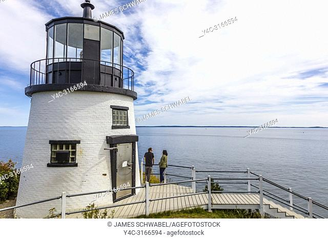 The Owls Head Light is an active aid to navigation located at the entrance of Rockland Harbor on western Penobscot Bay in the town of Owls Head, Knox County