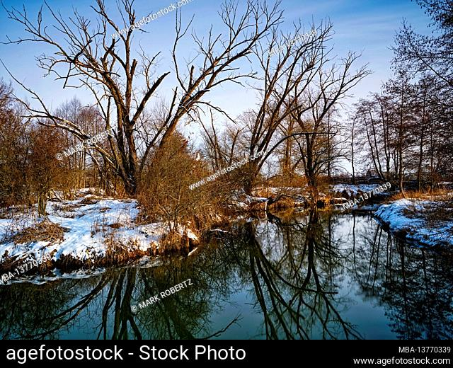 Winter at the Schmutter in the Augsburg Western Woods Nature Park