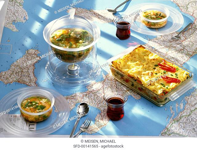 Minestrone e lasagne (vegetable soup and pasta bake, Italy)