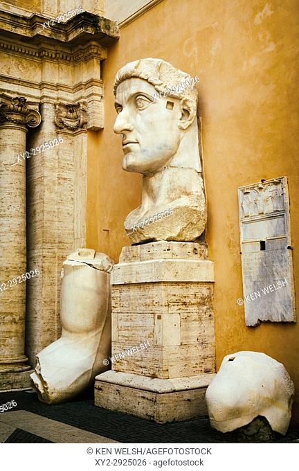 Rome, Italy. The Capitoline Museum. Courtyard of the Palazzo dei Conservatori. Pieces of the colossal statue of the Emperor Constantine