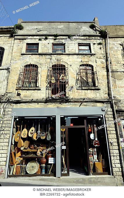 Music store in the music district, Istiklal Caddesi shopping street, Independence Street, Beyoglu, Istanbul, Turkey, Europe, PublicGround