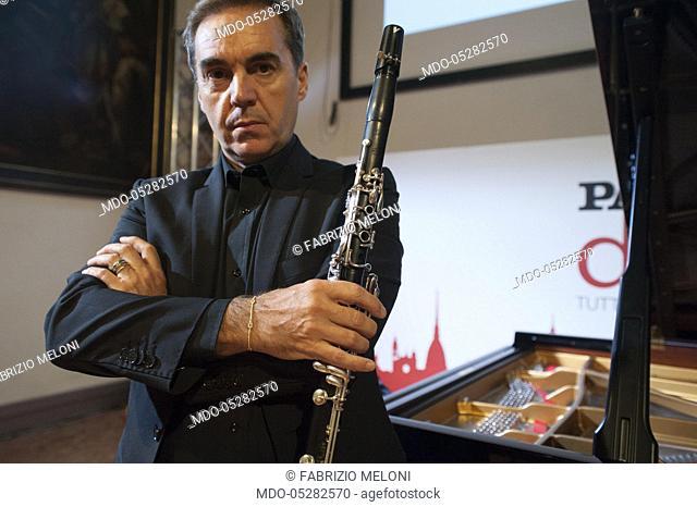 The clarinetist Fabrizio Meloni. Concert of the pianist Nazareno Carusi and Solisti della Scala for the Lega del Filo d'Oro, during the event Panorama d'Italia