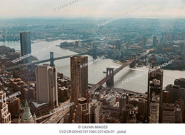 Elevated view of bridges and buildings in New York City, USA
