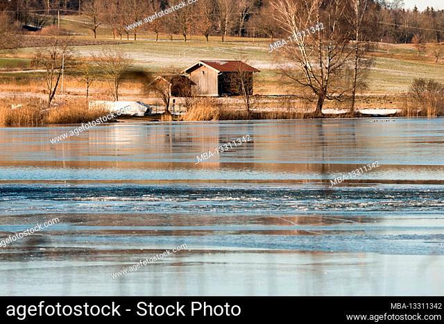 Winter, weather, Bavaria, Waging, lake Tachinger See, Rupertiwinkel region, Upper Bavaria, ice, frozen lake