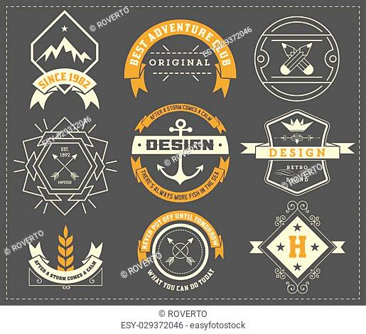 vintage logo template, Hotel, Restaurant, Business Identity set. Design with Flourishes Elegant Design Elements. Royalty. Vector Illustration