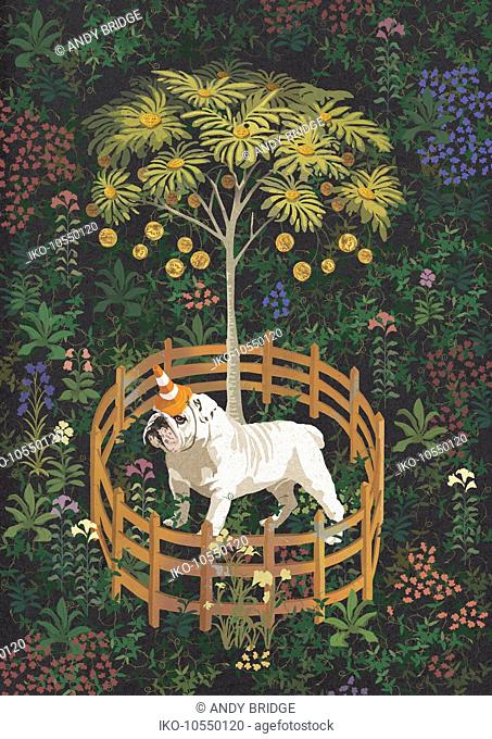 British bulldog as unicorn guarding money tree with fence barrier