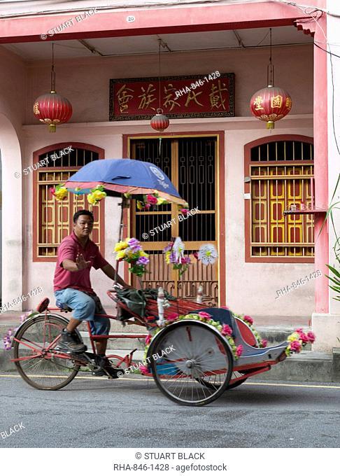Rickshaw in Chinatown, Georgetown, Pulau Penang, Malaysia, Southeast Asia, Asia