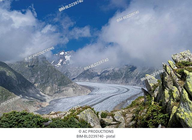 Snow in remote mountain landscape
