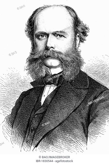 Hermann von Nostiz Wallwitz, 1825 - 1906, politician, Saxon Minister of the Interior, historical illustration, 1877