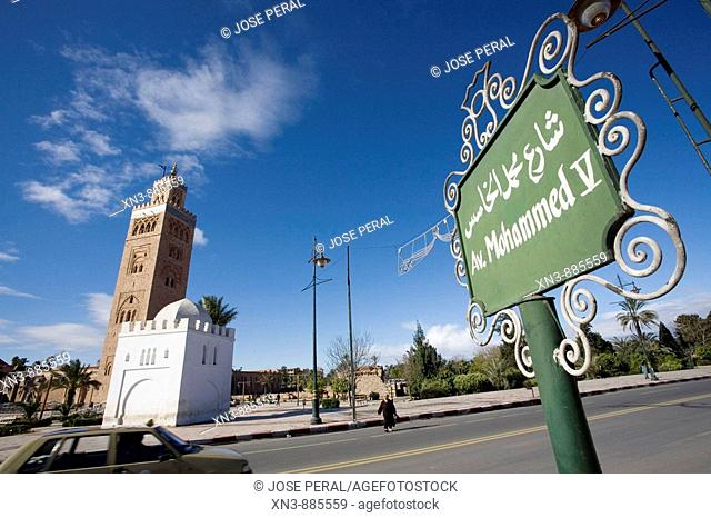 On background Koutoubia Mosque minaret.  Marrakech. Morocco