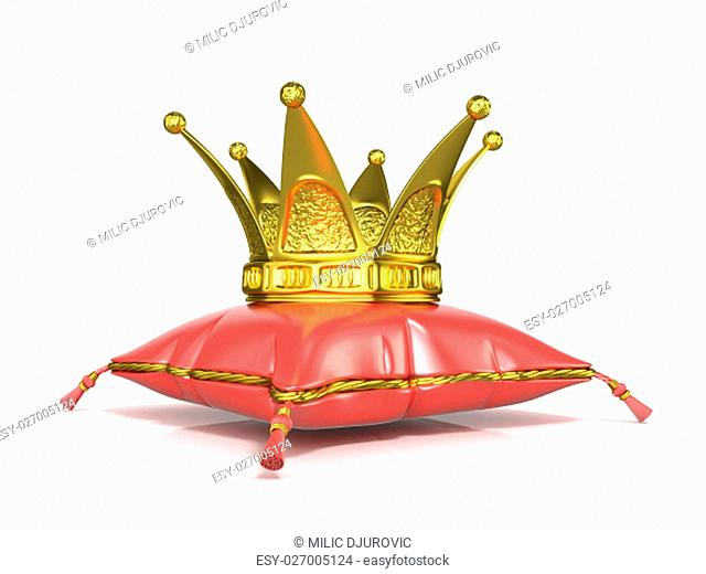 Royal red pillow and golden crown. 3D render illustration isolated on white background