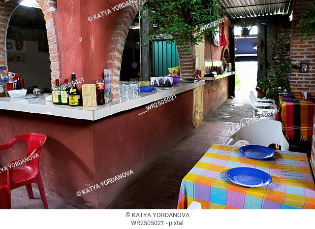 Interior of traditional mexican restaurant