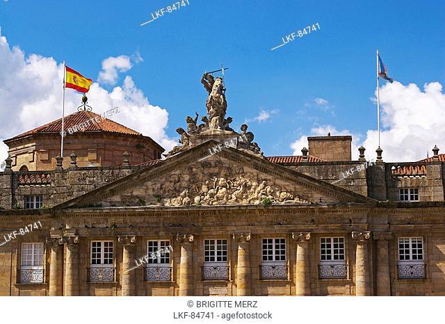 Palace in classicl style with sculpture showing battle of Clavijo in the gable, Pazo de Raxoi, Pazo de Rajoy, Praza do Obradoiro, Santiago de Compostela