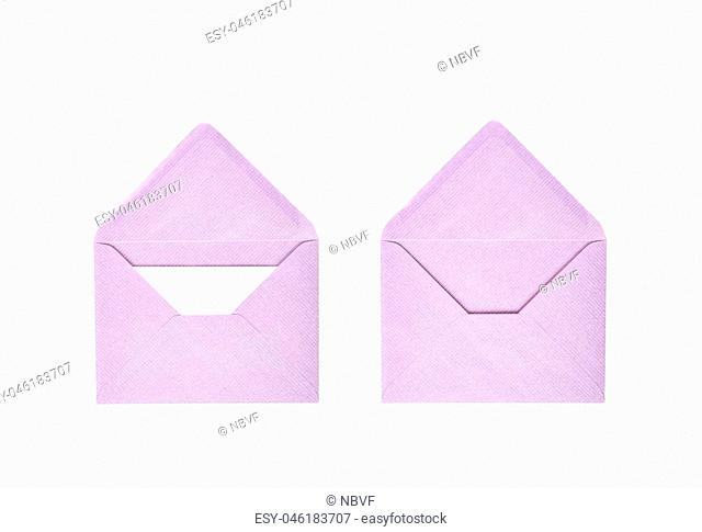 Opened paper envelope isolated over the white background, set of two different foreshortenings
