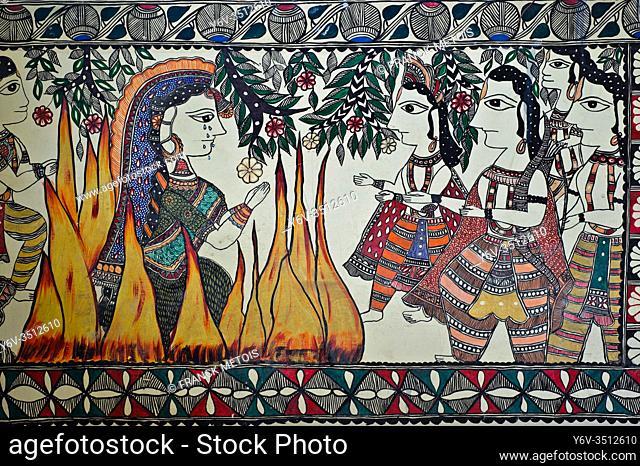 Madhubani style mural painting representing a sati ( Madhubani, India). The Madhubani ( or Mithila) art is a traditional art form practised in northern India...
