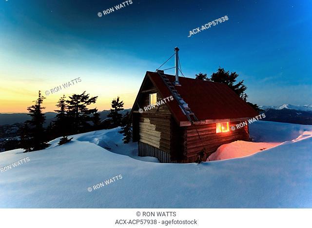 Mt. Steele cabin at night, Tetrahedron Provincial park British Columbia, Canada