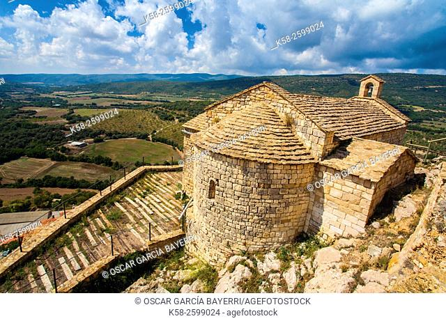 Old chapel in the medieval village of Tartareu, Montsec mountain range, pre-Pyrenees mountains, Lleida province, Catalonia, Spain