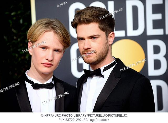 Golden Globe nominee Lukas Dhont (R) and guest attend the 76th Annual Golden Globe Awards at the Beverly Hilton in Beverly Hills, CA on Sunday, January 6, 2019