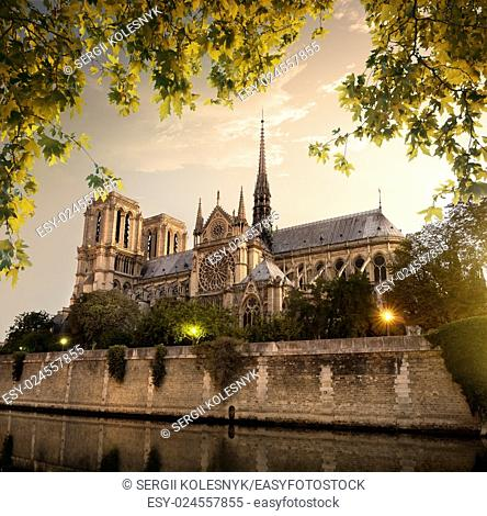 Notre Dame in Paris at sunset, France