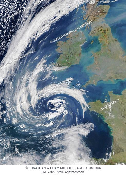 EARTH United Kingdom -- 23 Mar 2003 -- Pollution and smoke get caught up in a swirl of clouds off on the coasts of Spain, France, Ireland