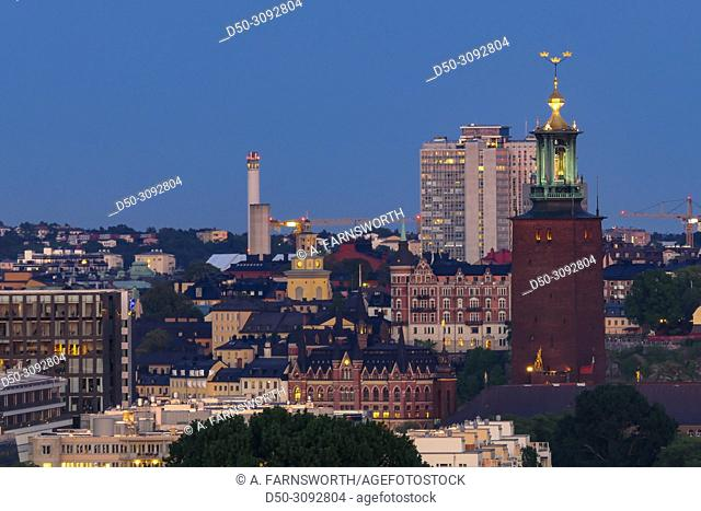 City view over the City Hall. Stockholm, Sweden
