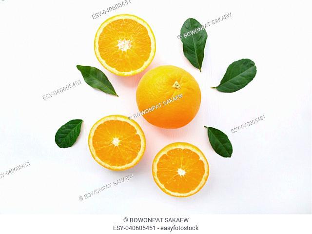 Fresh orange citrus fruit on white background. Top view