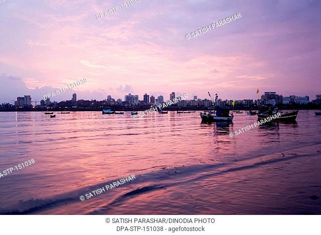 Mahim beach and Bandra bandstand at evening ; Bombay now Mumbai ; Maharashtra ; India