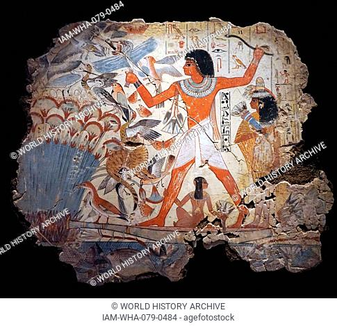 Scenes from the Tomb of Nebamun, a middle-ranking official scribe and grain accountant of the New Kingdom. Dated 1700 BC