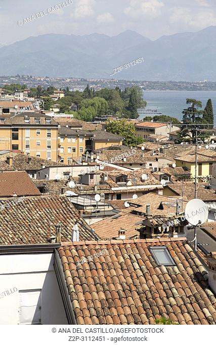 Beautiful aerial views of Desenzano del Garda, a town and comune in the province of Brescia, in Lombardy, Italy
