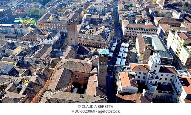 Aerial view of the historic town of Cremona. Cremona, Italy, 22/11/2015