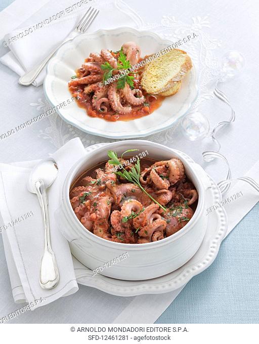 Baby Octopus Cooked in Pignatello Wine