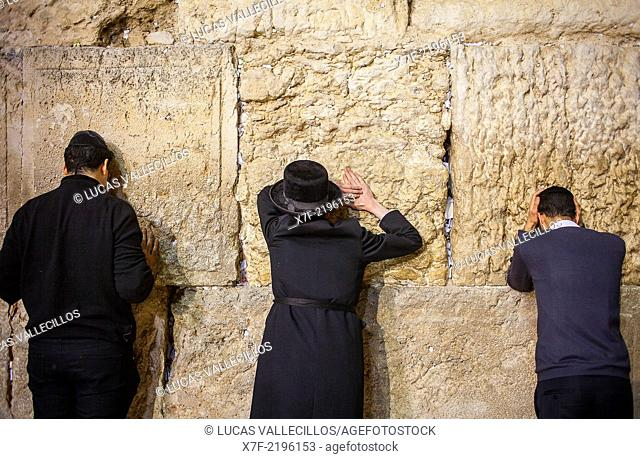 men's prayer area, men praying at the Western Wall, Wailing Wall, Jewish Quarter, Old City, Jerusalem, Israel
